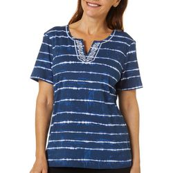 Coral Bay Womens Tie Dye Stripe Split Neck Short Sleeve Top
