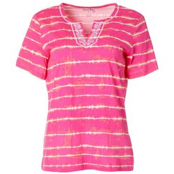 Womens Tie Dye Stripe Split Neck Short Sleeve Top