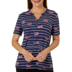 Coral Bay Womens Flag Striped Short Sleeve Top