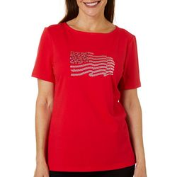 Coral Bay Womens Americana Jeweled Embellished Flag Top
