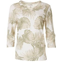 Coral Bay Womens Palm Leaf Split Neck Top