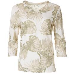 Womens Palm Leaf Split Neck Top
