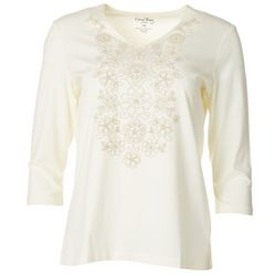 Coral Bay Womens Floral V-Neck Mid Sleeve Top