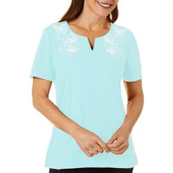 Coral Bay Womens Solid Butterfly Split Neck Short Sleeve Top