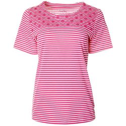 Coral Bay Womens Striped Embroidered Detail Round Neck Top