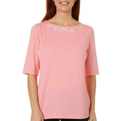 Coral Bay Womens Solid Floral Embroidered Boat Neck Top