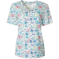 Womens Tropical Scene Print Henly Elbow Sleeve Top