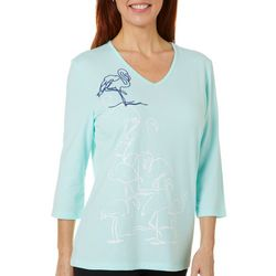 Coral Bay Womens Embellished Flamingo Flock V-Neck Top
