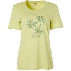 Womens Jewel Embellished Tropical Sunset Top