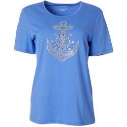Coral Bay Womens Jewel Embellished Anchor Top