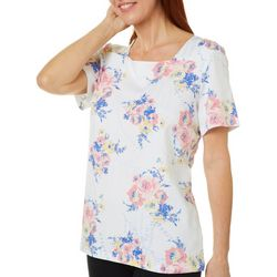 Coral Bay Womens Floral Map Print Square Neck Top