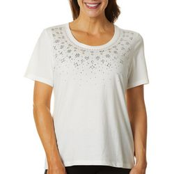 Coral Bay Womens Jeweled Radial Floral Top