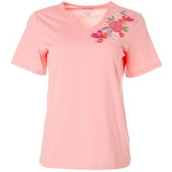 Coral Bay Womens Floral Embroidered V-Neck Top