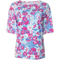 Coral Bay Womens Graphic Floral Boat Neck Top