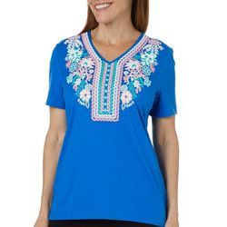 Coral Bay Womens Vibrant Floral Puff Print Top