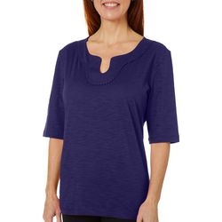 Womens Solid Embroidered Split Neckline Top