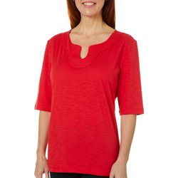Coral Bay Womens Solid Embroidered Split Neckline Top