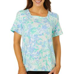 Womens Watercolor Garden Print Square Neck Top
