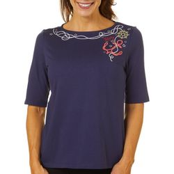 Coral Bay Womens Ahoy Anchor Embroidered Boat Neck Top