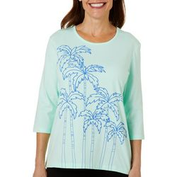 Coral Bay Womens Puff Print Palm Tree Embellished Solid Top