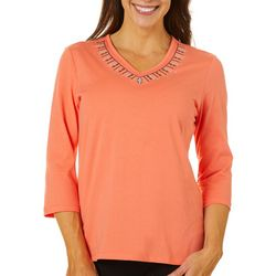Coral Bay Womens Dots & Dashes Embroidered Florida Tee