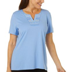 Coral Bay Womens Solid Geo Embroidered Split Neck Top