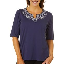 Coral Bay Womens Embroidered Floral Scalloped Neck Top