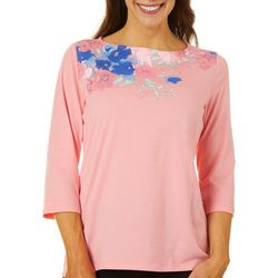 Coral Bay Womens Floral Placement Print Short Sleeve Top
