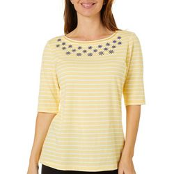 Coral Bay Womens Striped Anchor Embellished Top