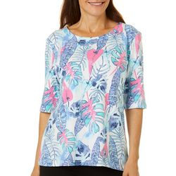 Womens Tropical Palm Print Boat Neckline Top