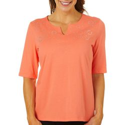 Coral Bay Womens Embellished Circles Split Neck Top