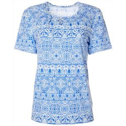 Coral Bay Womens Scroll Print Keyhole Short Sleeve Top
