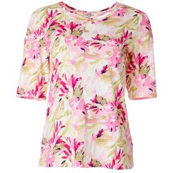 Womens Floral Print Boat Neck Elbow Sleeve Top