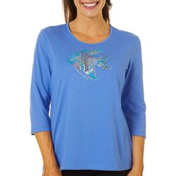 Coral Bay Womens Embellished Jewel Fish Round Neck Top