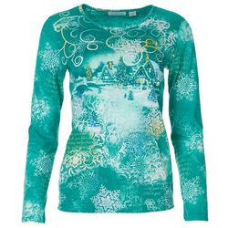 I.B. Diffusion Womens Winter Wonderland Long Sleeve Shirt