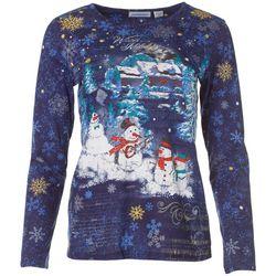 I.B. Diffusion Womens Snowman Melody Long Sleeve Shirt