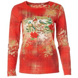 I.B. Diffusion Womens Poinsettia Long Sleeve Shirt