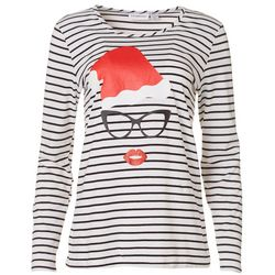 I.B. Diffusion Womens Mrs. Claus Striped Long Sleeve Shirt