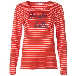 I.B. Diffusion Womens Jingle Belle Striped Long Sleeve Shirt
