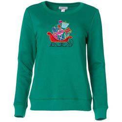 Womens Christmas Sleigh Long Sleeve Pullover