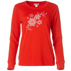 Womens Knit Snowflake Long Sleeve Pullover