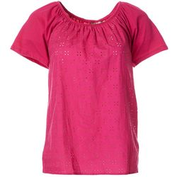 Fresh Womens Eyelet Raglan Sleeve Top