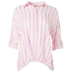 Fresh Womens Stripe Print Button Placket Top