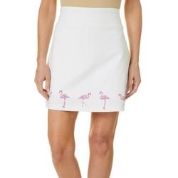 Coral Bay Womens Solid Flamingo Embellished Skort