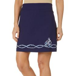 Coral Bay Womens Solid Anchor Embellished Skort