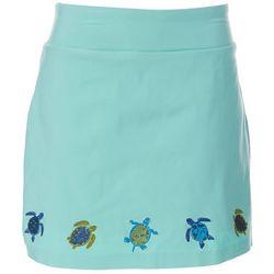 Coral Bay Womens Solid Turtle Embellished Skort