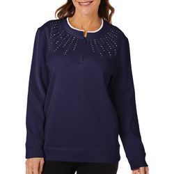 Womens Solid Quarter Zip Pull Over Sweater