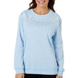 Coral Bay Womens Floral Embroidered Pull Over Sweater