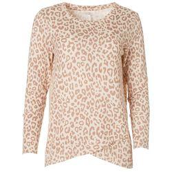 Silverwear Womens Leopard Criss Cross Long Sleeve Shirt