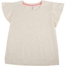 Lush Womens Confetti Short Sleeve Kangeroo Top